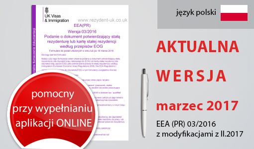 AKTUALNA WERSJA – marzec 2017! | Tłumaczenie formularza EEA (PR) 03/2016 z modyfikacjami z II.2017 w formacie PDF.