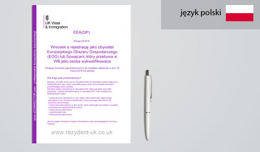 tłumaczenie formularza EEA (QP)