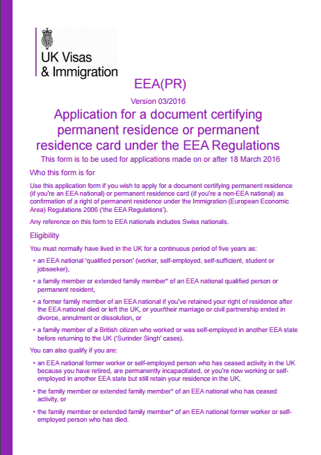 rezydentura tymczasowa w UK - formularz